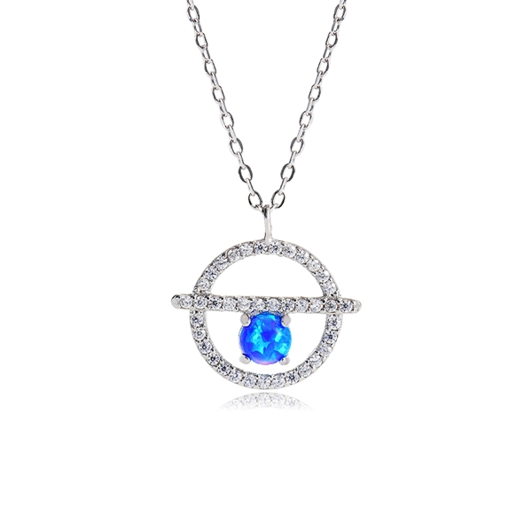 """ATTRACTIVE BLUE STONE PENDANT ON SILVER PLATED CHAIN 16/"""" or 18/"""""""