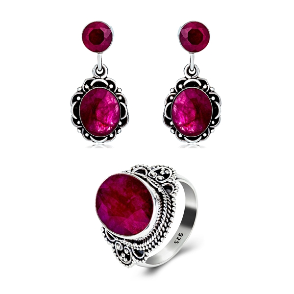 Picture of 925 Sterling Silver Medium Necklace And Earring Sets 3AS048011S