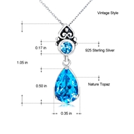 Picture of Sea Blue Big Pendant Necklaces 3AS050456N