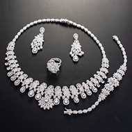 Picture of Hypoallergenic Platinum Plated Big 4 Piece Jewelry Set with Easy Return