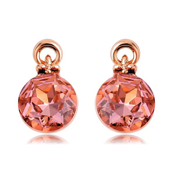 Picture of New Artificial Crystal Pink Stud Earrings