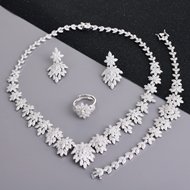 Picture of Wholesale Platinum Plated Copper or Brass 4 Piece Jewelry Set with No-Risk Return