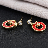 Picture of Copper or Brass Red Stud Earrings in Flattering Style