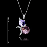 Picture of Nickel Free Purple Platinum Plated Pendant Necklace with Easy Return