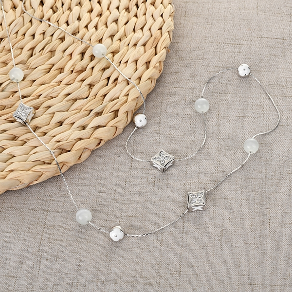 Picture of Wholesale Platinum Plated White Long Chain Necklace with No-Risk Return