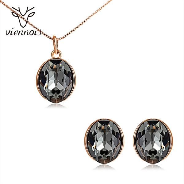 Picture of Hot Selling Rose Gold Plated Black Necklace and Earring Set from Top Designer