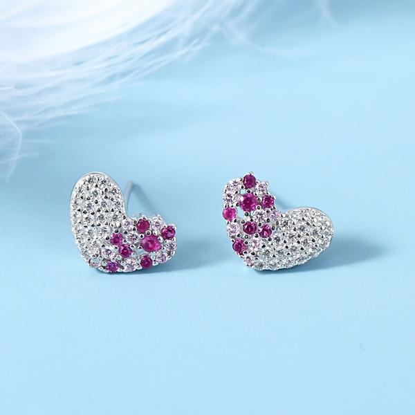 Picture of Love & Heart Pink Stud Earrings with Speedy Delivery