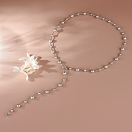 Picture of Good Artificial Pearl Platinum Plated Frame Chain