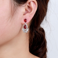 Picture of Low Cost Platinum Plated Copper or Brass Dangle Earrings with Low Cost