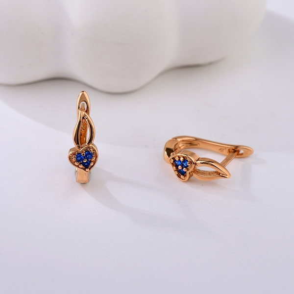 Picture of Good Cubic Zirconia Blue Small Hoop Earrings