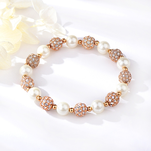Picture of New Artificial Pearl White Beaded Bracelet