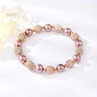 Picture of Top Artificial Pearl Rose Gold Plated Beaded Bracelet